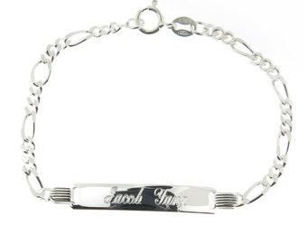925 Sterling Silver Figaro Link Childrens ID Bracelet Free Engraving