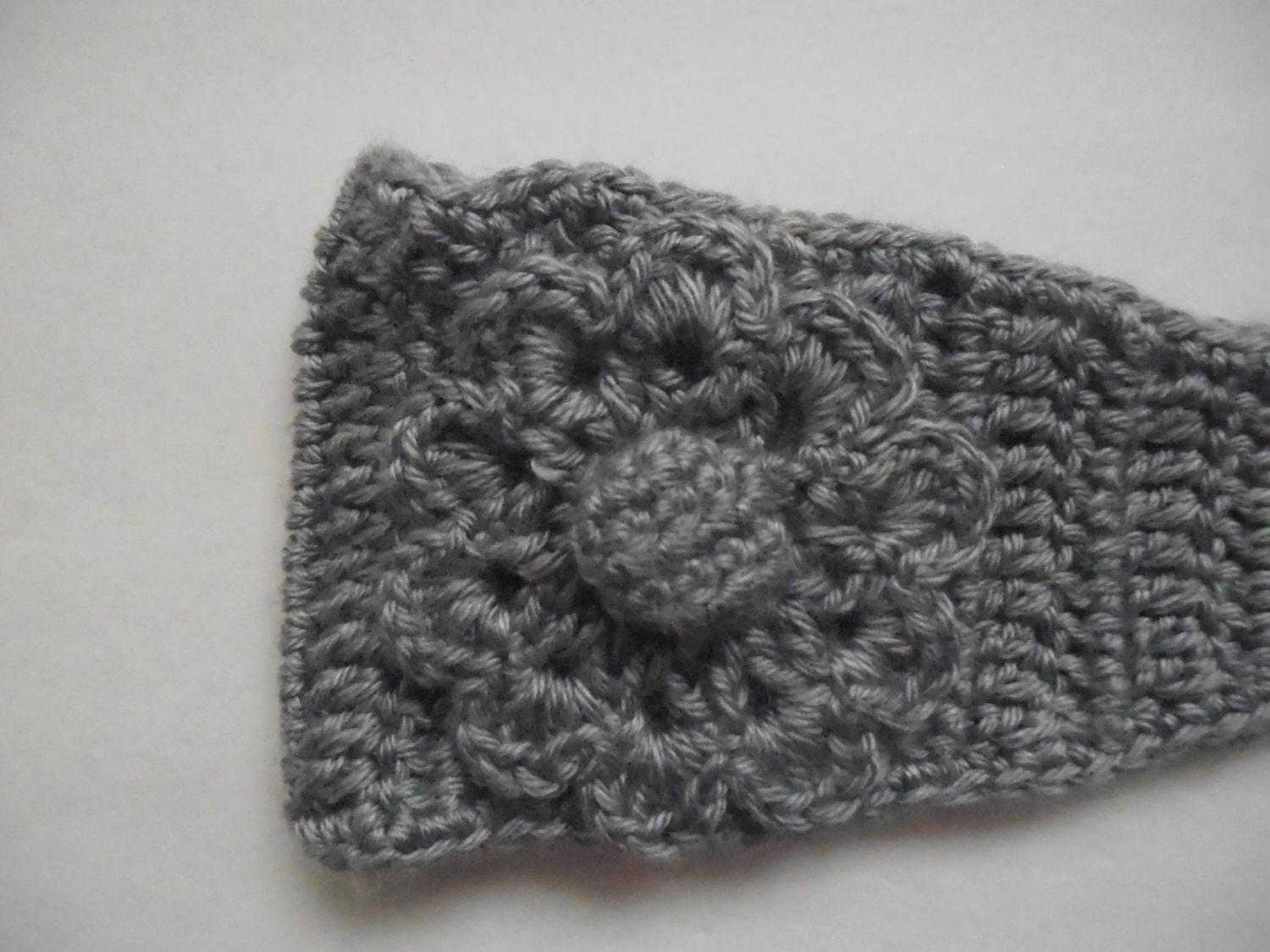 Crocheted Winter Headband with Flower and Button Closure! Warm and ...