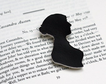 Brooch / Pin - Jane Austen Silhouette - Book Lover Gift - Regency - Georgian