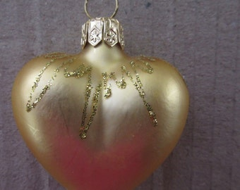 Vintage Christmas Ornament Gold Heart Hand Blown Glass Made In Germany  #12
