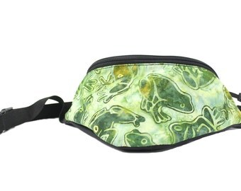 Fanny pack Batik Frogs fabric - Cute  - Hip Waist Bag for travel, sport, and hiking with 2-zippered compartments