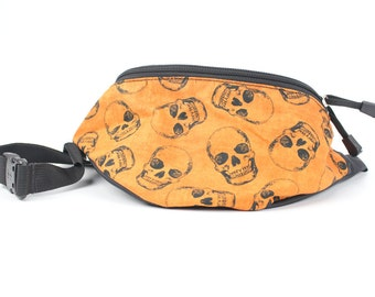Orange Skull fabric Fanny Pack - Hip Waist Bag for travel, sport, and recreation with 2-zippers