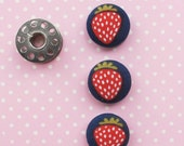 Fabric Covered Buttons 3/4 Inch | 3 Small Strawberry Print Fabric Buttons | Navy Blue Buttons | Fruit Fabric Shank Buttons