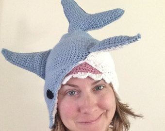 CROCHET PATTERN, Great White Shark Hat Crochet Beanie Pattern, Hat Patterns, Hats Crochet, Ladies Pattern