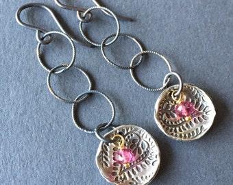 A Bit of Pink, Pink Tourmaline, Fine Silver, 24k Gold Vermeil, Oxidized Sterling Silver Earrings, erinelizabeth