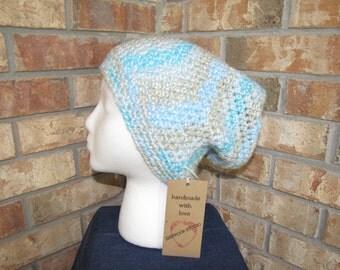 Slouchy Beanie Hat - Cool Blue Twist