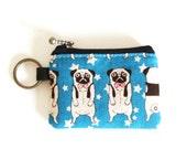 Key/coin purse - pug blue