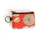 Key/coin purse - Etching flower orange
