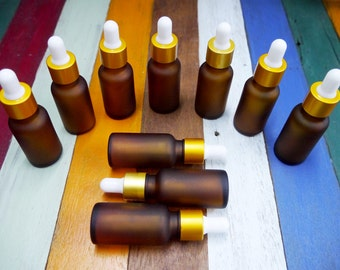 10 pcs. Amber Frosted Glass Bottles with White Eye Dropper For Essential Oil 20cc.