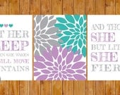 Instant Download Let Her Sleep For When She Wakes And Though She Be But Little She is Fierce Wall Art Purple Grey Teal 8x10 JPG files (215)