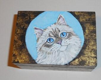 American Bobtail Cat Hand Painted Jewelry Trinket Box OOAK