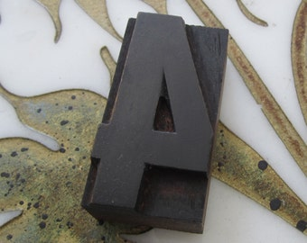 Antique Letterpress Wood Type Printers Block Number Four 4