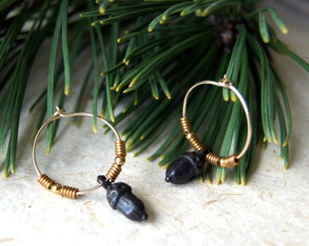 Acorn Earrings - hoop earrings - rustic acorn earrings - black acorn earrings - gold fill hoop earrings - boho chic - Woodland Wedding