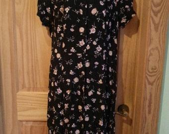 Vintage 90s Long Floral Tie back Dress size 22 W