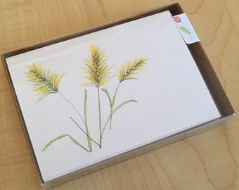 Watercolor Blank Note Cards - Wild Grasses Cards - Wildflowers - Botanical Note Cards - Set of 6