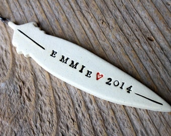 Personalized Feather Pottery Ornament (Large)