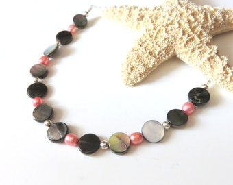 Black Shell Coin Pearl Necklace, Coral Freshwater Pearls, Nautical Shell Jewelry, Pearl Shell Beach Necklace, Sterling Silver Chain