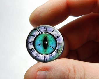 Glass Eyes - Steampunk Clockwork Green Dragon Glass Eyes Glass Taxidermy Doll Eyes Cabochons - Pair or Single - You Choose Size