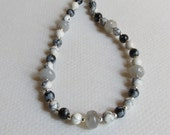 Moonstone, Howlite, Obsidian Necklace with Sterling Silver, Smokeylady54