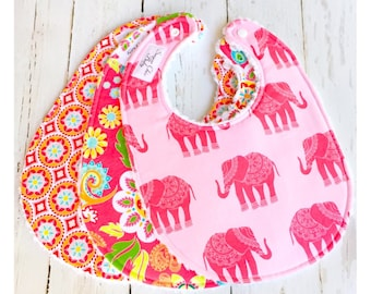 Baby Bibs for Baby Girl -  Set of 3 Triple Layer Chenille -  Pink Madhuri Elephants, Boho Floral & Red Medallion