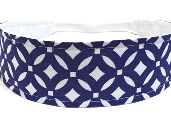 Headbands for Women - Navy Blue & White Geometric Pattern - Reversible Fabric Headband  -  CELINE