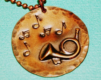 French Horn Necklace - Copper Disc Pendant - Brass Horn