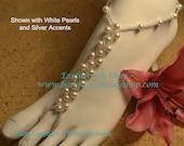 Swarovski Pearl Weave Beach Wedding Barefoot Sandals