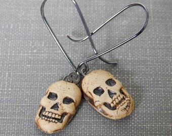 Ceramic Earrings, Silver Earrings, Clay Charms, Clay Earrings, Skull Earrings, Natural, Ceramic Charms, Sterling Silver