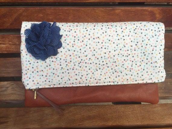 Mini Triangles Foldover Leather Clutch, Clutch Bag, Clutch Purse Leather, Foldover Bag