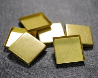 25mm Square Flat Back Bezel Settings - Raw Brass - 10pcs
