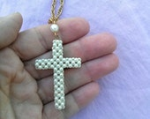 Vintage 1960s Necklace Pearl Cross Pendant 2015377