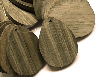 WDTDF-40GR - Wood Pendant, Flat Teardrop 30x40mm, Graywood - 2 Pieces