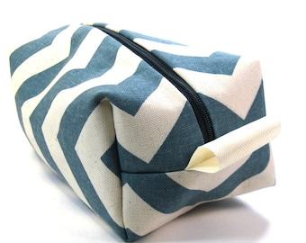 Makeup Bag / Cosmetic Bag/ Travel Bag / Toiletry Bag -  Denim Chevron