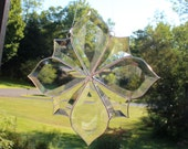 "Bevel Cluster Stained Glass Sun-catcher, 9 1/2"" X 9 1/2"", Hand Crafted, Made in the USA"