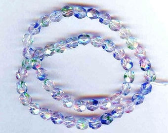 Confetti Faceted Multicolored Fire Polish Glass Round Beads 8mm 20pcs