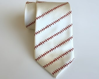 Baseball necktie. Baseball stitching print men's tie. Silkscreened sports fan gift. White, cream & more. Rust print. Bow ties available too!