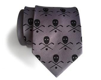Hockey necktie. Men's silk hockey tie. Stick, puck & mask print. Hockey player gift. Choose silver, black, red or custom team colors!