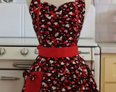 Retro Apron Red and Pink Hearts on Black MAGGIE