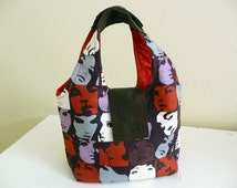 Cotton Handbag, Faces in a Crowd Purse, Small Womens Bag, Gift for Her