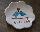 Ring Bearer Pillow  Love Birds Hitched Design The Original Love Bird Ring Bowl by Chrissy Ann Ceramics