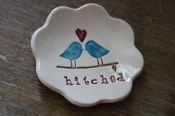 Ring Bearer Pillow  Love Birds Hitched Design The Original Love Bird Ring Bowl by Chrissy Ann Ceramics