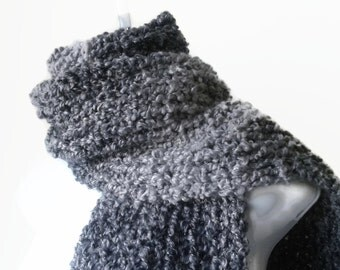 Chunky Knit Classic Scarf in Grey Black Ombre Soft Knit Scarf Men Women Unisex COSIMA Ready to Ship - Autumn, Winter Fashion