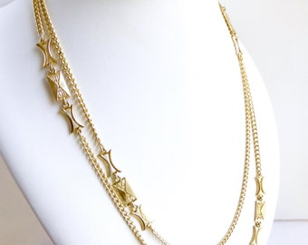 """Long gold necklace. Asian chain station necklace. Gold toned. 54"""" Statement necklace"""
