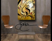 Original Abstract painting Modern Home Decor LARGE Canvas Wall Art Urban Street Pop by Fidostudio