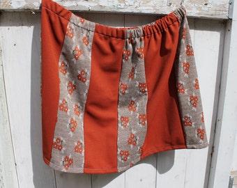 "Knee length Plus Size skirt, 20"" long, elastic waist skirt, alternating patterns, vintage fabric, 2X, 3X, plus size skirt, knee length, OOAK"
