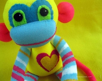 Vargas - Blue, Yellow, & Pink Striped Handmade Best Friend Sock Monkey Plush Doll - D.I.Y. Kit No. 718 - No Sewing Machine Needed