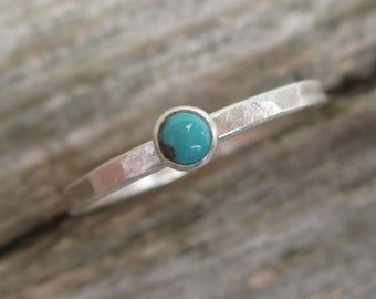 Ready to Ship. itty bitty Turquoise Ring. Sterling and Fine Silver