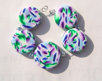Rocky Mountain Artisan Polymer Clay Bead Set with Focal and 4 Beads