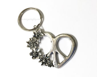 Peace Love and Happiness Keyring Key Chain or Zipper Pull. Peace heart charm with flowers. Party Favor Or choose from 100's of other charms.