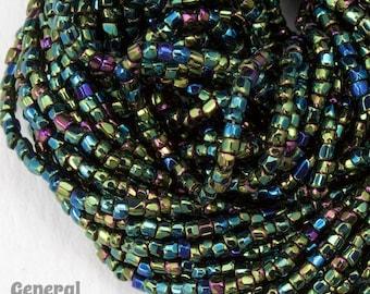 12/0 Metallic Green Iris 3-Cut Czech Seed Bead (Hank) #CSR022